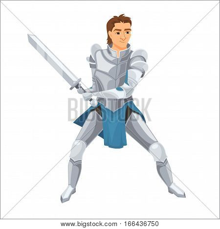 Knight. Paladin with armor and sword. Fairy tale. Fantastic kingdom character. Magical stories vector cute clipart. Handsome medieval warrior.
