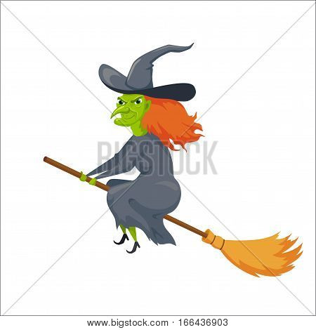 Witch on a broomstick. Hellowin character. Spooky woman flying on a broom. Fairytale. Magical stories vector cute clipart. Scary sorceress