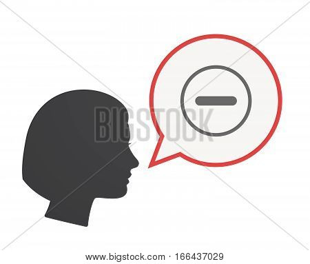 Isolated Female Head With A Subtraction Sign