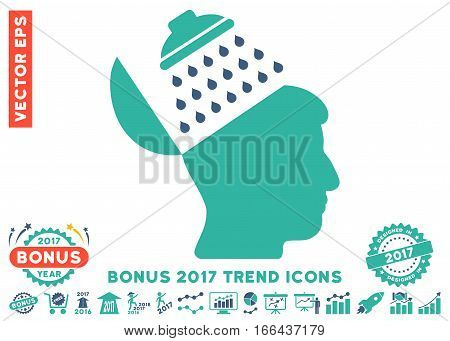 Cobalt And Cyan Propaganda Brain Shower icon with bonus 2017 year trend pictograms. Vector illustration style is flat iconic bicolor symbols, white background.