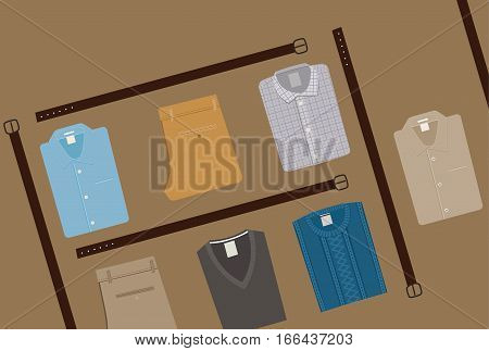 Clothes Fashion background. Menswear concept. Flat style Men Clothing Vector illustration eps 10