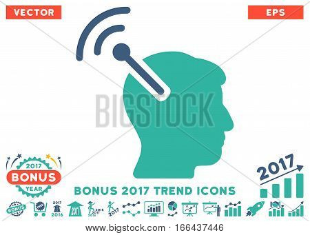 Cobalt And Cyan Radio Neural Interface pictogram with bonus 2017 trend pictograph collection. Vector illustration style is flat iconic bicolor symbols, white background.