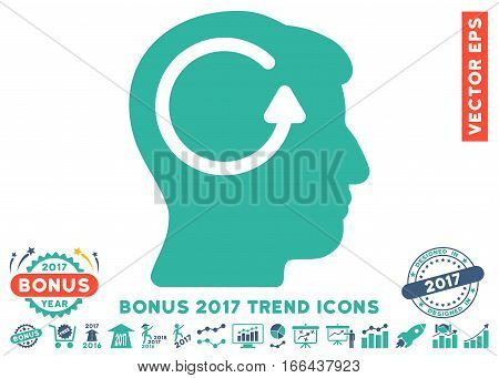 Cobalt And Cyan Refresh Head Memory pictograph with bonus 2017 trend images. Vector illustration style is flat iconic bicolor symbols, white background.
