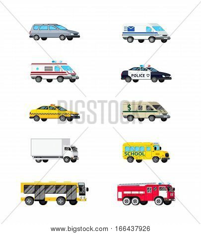 Orthogonal automobile transport icons set with ten isolated images of light cargo and special vehicles vector illustration