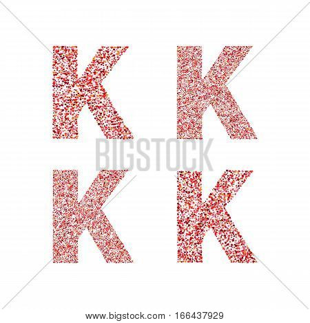 Alphabet letter K with red heart on Valentine's Day. Valentine`s Day Alphabet of Hearts. Love ABC