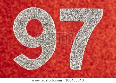 Number ninety-seven white color over a red background. Anniversary. Horizontal