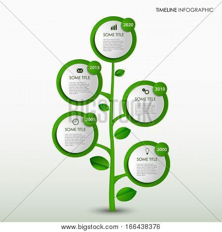 Time line info graphic with abstract design green tree template vector eps 10
