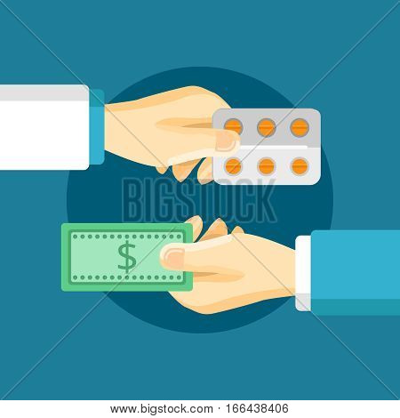 Medications purchase composition with two hands buyer and seller in flat style vector illustration