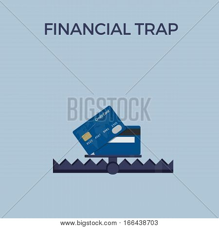Financial Trap Illustration, Debt Trap, Credit Card In Bear Trap