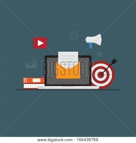 Email Marketing Concept, Laptop with email document on yellow envelope, with digital marketing icon