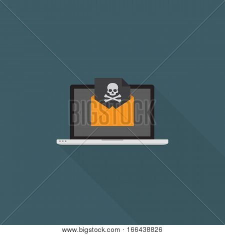 Online Blackmail Concept, Laptop With Skull Sign On Black Document Over Yellow Envelope