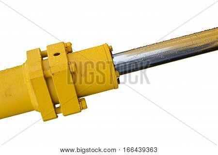 Detail of hydraulic bulldozer piston excavator arm Isolated on white