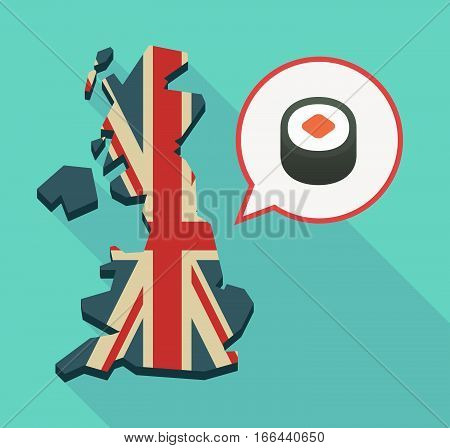 Long Shadow Uk Map With A Piece Of Sushi Maki