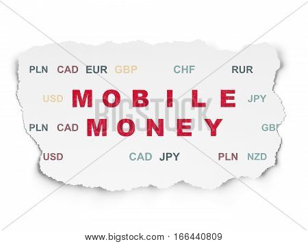 Money concept: Painted red text Mobile Money on Torn Paper background with  Currency