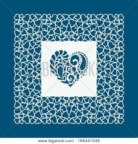 Laser cut Valentines day card with hearts. Laser cutting template for diy greeting cards envelopes wedding invitations decorative elements