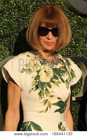 NEW YORK - AUGUST 29, 2016: Editor-in-chief of Vogue magazine Anna Wintour at the red carpet before US Open 2016 opening night ceremony at USTA Billie Jean King National Tennis Center in New York