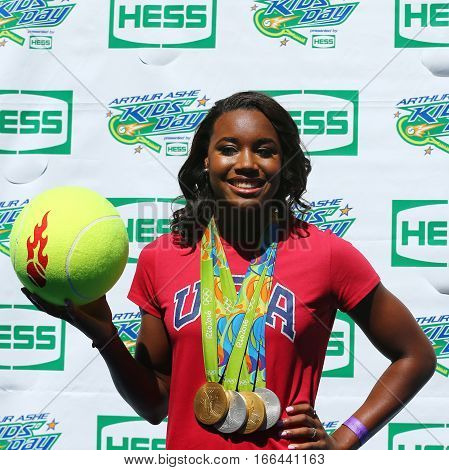 NEW YORK - AUGUST 27, 2016: Rio 2016 Olympics Champion swimmer Simone Manuel participates at Arthur Ashe Kids Day 2016 at Billie Jean King National Tennis Center in New York