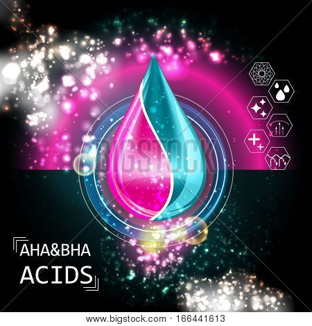 AHA BHA Acid Oil Serum Essence 3D Droplet, Skincare Icon, Cosmetics Ads Template
