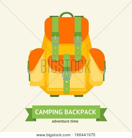 Tourist Camping Backpack Card with Tape for Text. Hiking Bag for Adventure Time Flat Design Style Vector illustration