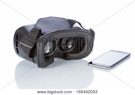 VR Glasses and smartphone with clipping path for screen isolated on white background.