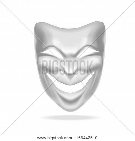 Template Blank White Comedy Mask Theatre. Realistic Empty Mock Up. Vector illustration