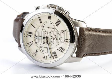 Men's luxury wrist watch on white background