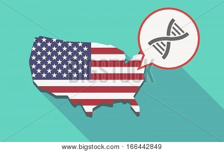 Long Shadow Usa Map With A Dna Sign