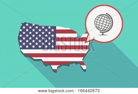 Long Shadow Usa Map With  A Table World Globe