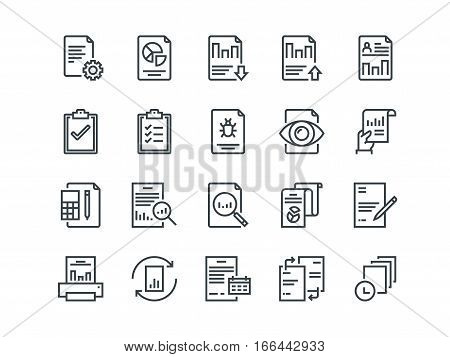 Report. Set of outline vector icons on a white background. Includes such as Auto Reports, Calculation, Settings, Generate and more.