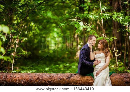 Groom and bride in the spring forest