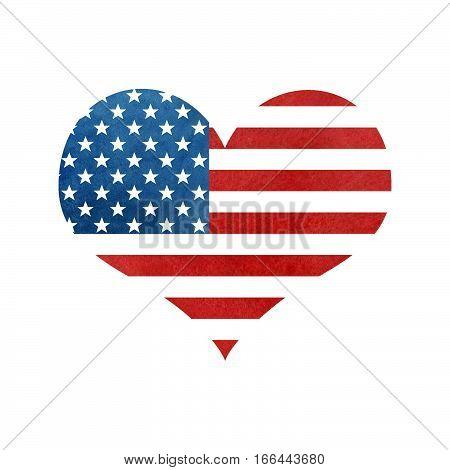 Heart Shape Usa America Flag.