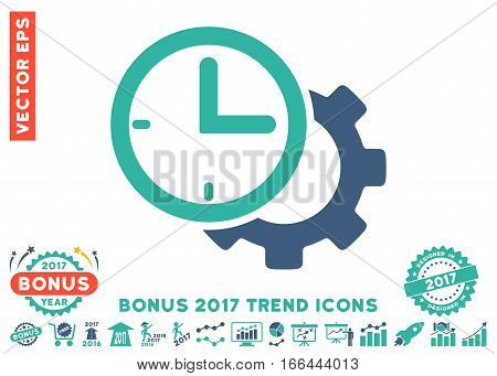 Cobalt And Cyan Time Setup Gear icon with bonus 2017 year trend icon set. Vector illustration style is flat iconic bicolor symbols, white background.