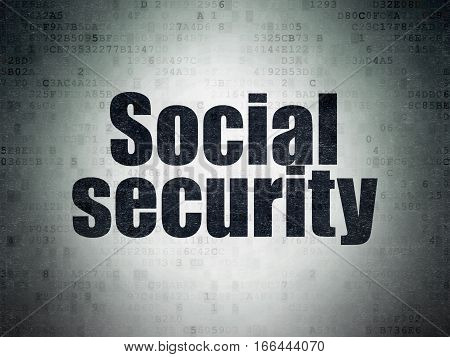 Protection concept: Painted black word Social Security on Digital Data Paper background