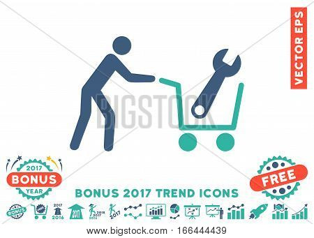 Cobalt And Cyan Tools Shopping icon with bonus 2017 trend symbols. Vector illustration style is flat iconic bicolor symbols, white background.
