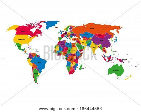 Multi-colored political vector map of World with national borders and country names on white background.