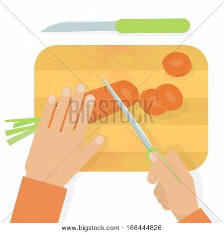 Hands cutting carrot with a knife on wooden board. Stock vector illustration of cooking meal household duty housewife usual work.