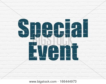 Business concept: Painted blue text Special Event on White Brick wall background