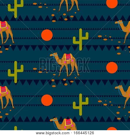 Desert camels on ethnic night blue pattern. Red moon and green cacti safari background.