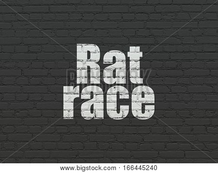 Business concept: Painted white text Rat Race on Black Brick wall background