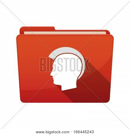 Isolated Folder With  A Male Punk Head Silhouette