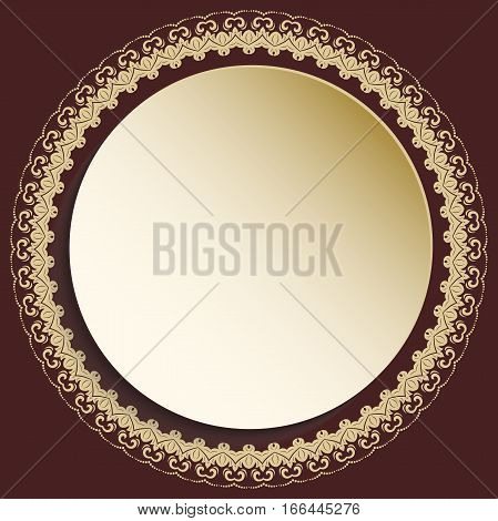 Round vector golden frame with floral elements and arabesques. Pattern with arabesques. Fine greeting card.