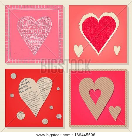Vector set of templates on Valentine's Day 14 February. Square paper cards with heart cut out of cardboard newsprint torn decorative paper. Pink and red colors.