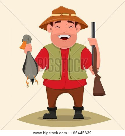 Hunter holding rifle and shot duck. Happy cheerful smiling cartoon character. Man in hat and with beard. Vector illustration. Usable as poster print. EPS10
