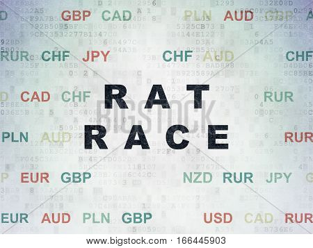 Business concept: Painted black text Rat Race on Digital Data Paper background with Currency