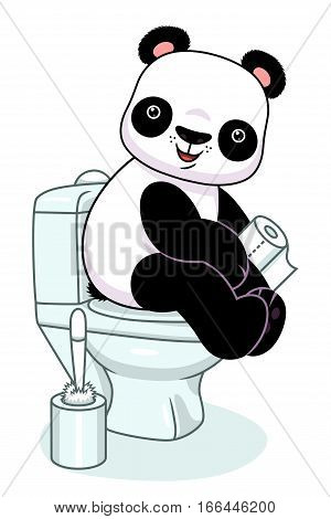 Funny cartoon panda sitting on a toilet and holds toilet paper.