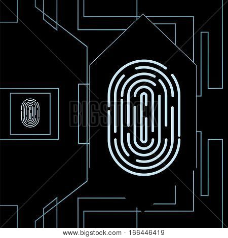 Fingerprint for biometric identification on high-tech background . Stock vector concept for forensic science as well as computer authentication.
