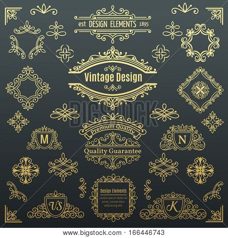 Set of vintage vector line elements . Calligraphic decorative dividers borders swirls scrolls monograms and frames. Golden design elements, page decoration.