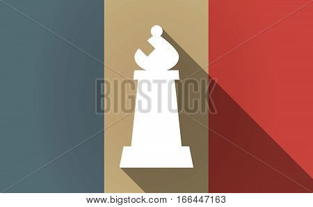 Long Shadow France Flag With A Bishop    Chess Figure