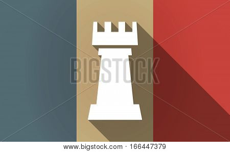 Long Shadow France Flag With A  Rook   Chess Figure