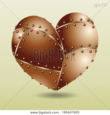 Copper riveted heart Abstract design author seam metal object is large handmade holiday valentine greeting card style techno vector art illustration Stock